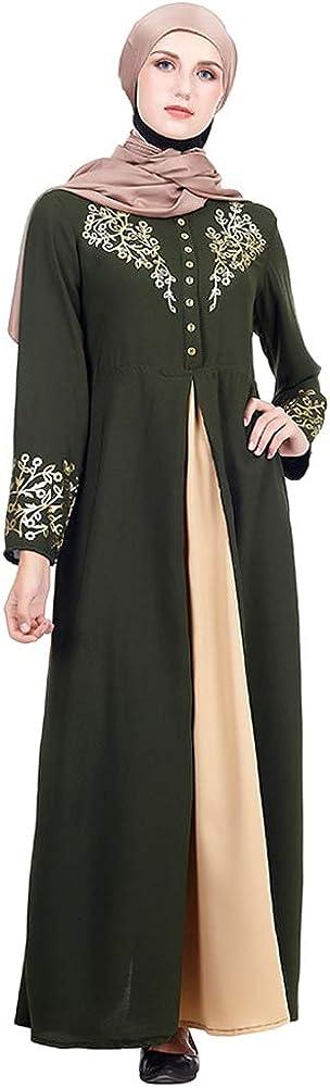 Qduoduo Abito Lungo Arabo Abaya Golden Print Robe Girls Dubai Kaftan Abito Donna Manica Lunga Mmusulmano M-XXL