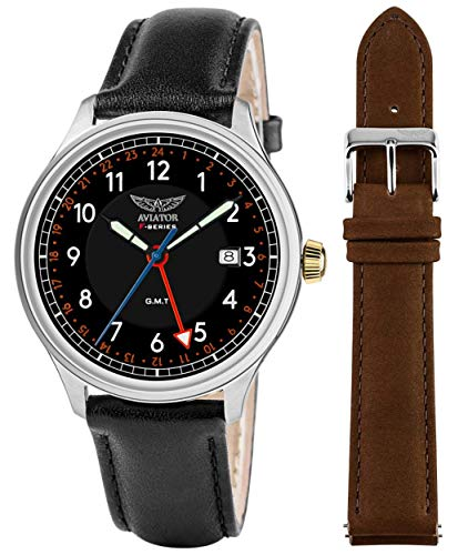 AVIATOR F-Series Men's Vintage Flight Pilot Dual Time GMT Quartz with Two Interchangeable Genuine Leather Straps Black and Brown Watch Set ()