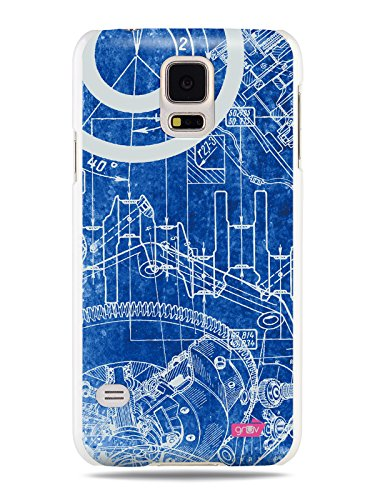 Grv premium case steampunk drawing machine mechanical grv premium case machine mechanical engineering architect blueprint design white hard cover for samsung galaxy s5 malvernweather Gallery