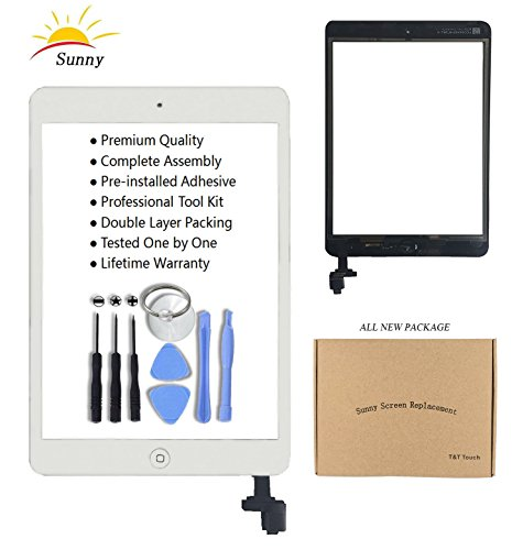 iPad Mini & Mini 2 White Digitizer Replacement Screen Replacement Glass Replacement Digitizer Assembly - Includes Home Button Camera Holder Pre Installed Adhesive Stickers and Professional Tool - White Sunnies