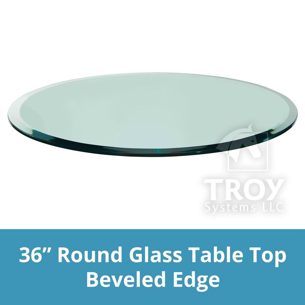 TroySys Round Glass Table Top Custom Annealed Clear Tempered Thick Glass with Beveled Polished Edge For Dining Table, Coffee Table, Home & Office Use - 36'' L & 3/8'' Thick by