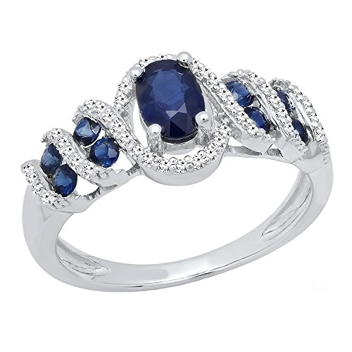 Sterling Silver 6X4 MM Oval & Round Cut Blue Sapphire & Round Diamond Engagement Ring (Size 4) by DazzlingRock Collection