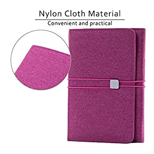 Folio Cover for Rocketbook Everlast Fusion, Cloth Fabric, Multi Organizer Men & Women Folder with Pen Loop/Phone Pocket/Business Card Holder, fits A5 size Notebook (Pink, Pink Executive -A5)