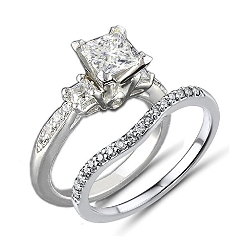 Venetia Top Grade Realistic Princess Cut Simulated Diamond 3-Stones Ring Curved Band 2 Pcs Set Platinum Plated 925 Silver cubic zirconia cz (Princess Cut Diamond Shape Ring)