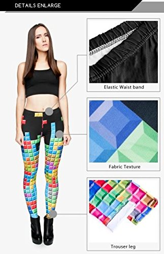kukubird Printed Patterns Womens Yoga Leggings Gym Fitness Running Pilates Tights Skinny Pants Size 6-10 Stretchable-Tetris