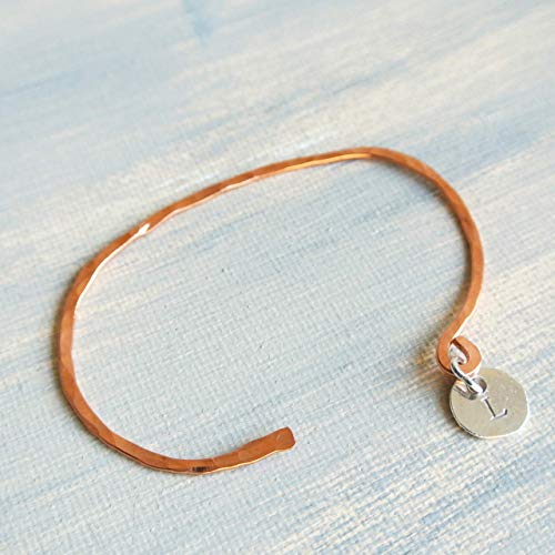 Initial L Hammered Copper and Sterling Silver Charm Cuff Bracelet