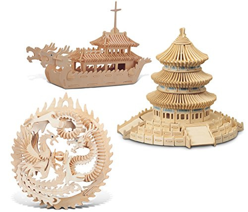- Puzzled Lucky Dragon & Phoenix, Dragon Boat and Temple of Heaven Wooden 3D Puzzle Construction Kit