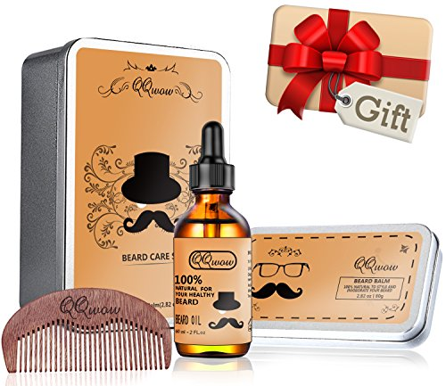 Price comparison product image QQwow Beard Kit Best for Mens Grooming and Beard Care,Elegant Gift Set Includes Beard Oil 60ml,Beard Balm 2.82oz,Wooden Comb, 100% Natural Ingredients, Leave-in Conditioner and Softener