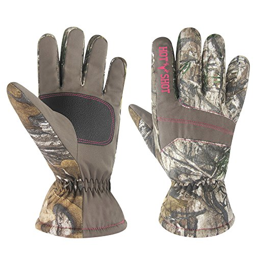 HOT SHOT Women's Defender Camo Thinsulate Insulated Hunting Gloves, Realtree Xtra, Large
