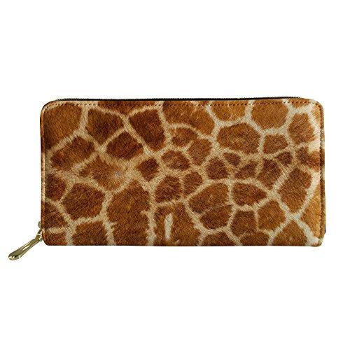 INSTANTARTS Novelty Giraffe Print Women's Long Purse PU Leather Clutch Handbag Coin Bag