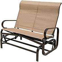 PatioPost Glider Bench Chair Outdoor 2 Person Loveseat Chair Patio Porch Swing with Rocker, Mocha