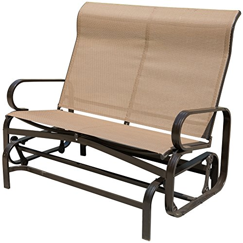 PatioPost Outdoor Swing Glider Bench Aluminum Chair for 2 Person Garden Rocking Loveseat - Mocha ()