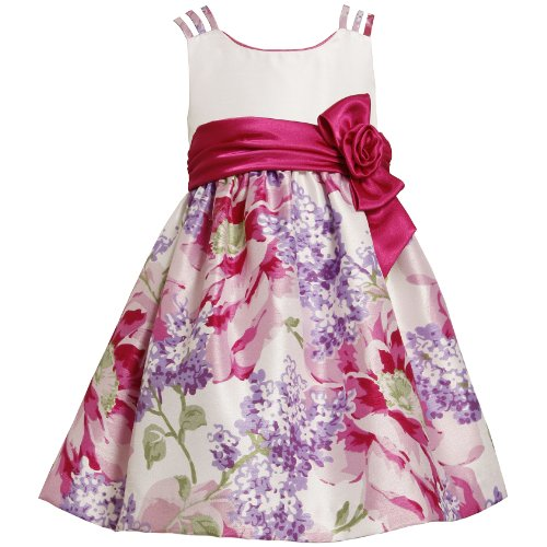 Bonnie Jean TODDLERS 2T-4T PINK PURPLE TRIPLE STRAP LILAC FLORAL SHANTUNG Special Occasion Flower Girl Party Dress