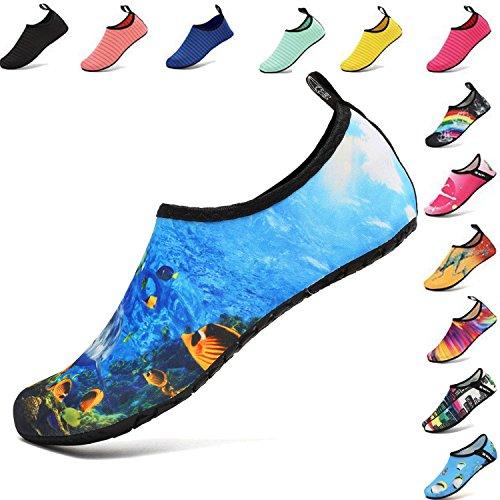 VIFUUR Unisex Quick Drying Aqua Water Shoes Pool Beach Yoga Exercise Shoes for Men Women DeepSea-40/41 by VIFUUR