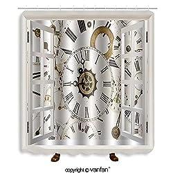 Vanfan designed Windows 293970194 Large set of various vintage clock faces Shower Curtains,Waterproof Mildew-Resistant Fabric Shower Curtain For Bathroom Decoration Decor With Shower Hooks