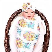 Baby Sleep Swaddle Blanket Large and Bow Headband Set Ananas Fox Flower Elephant Print Swaddle Blanket 47 inch X 47 inch