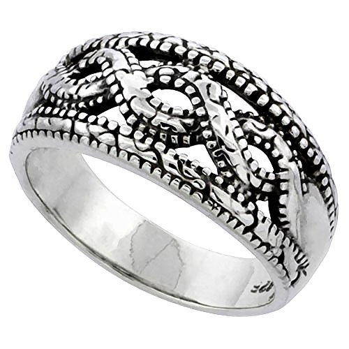 Ring Wedding Braided Band Wide - Sterling Silver Braided Bead Ring 7/16 inch wide, size 8.5