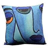 Blue Abstract Painting Design Throw Pillow Case Decor Cushion Covers Square 18*18 Inch Beige Cotton Blend Linen