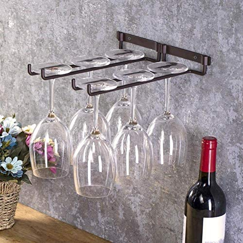 Wine Glass Holder - Double Stemware Holder Hanging Metal Wine Cup Rack Bar Double Stemware Glass Bottle Goblet Inverted Holder