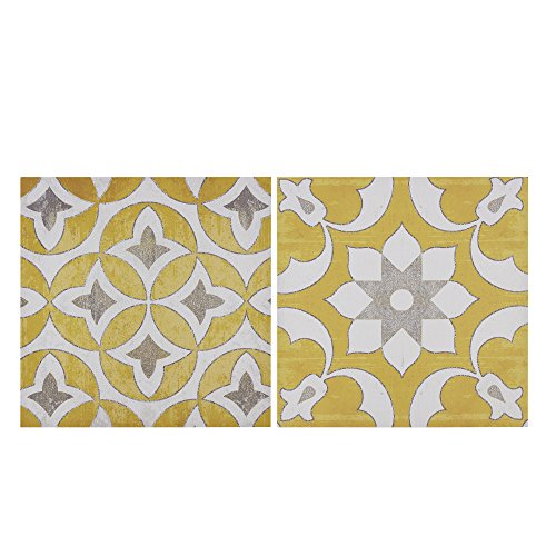 Décor 5 - Printed Canvas Set with Silver Metallic Foil - 2 Pieces, 18'' x 18'' - Tuscan Geometric Pattern - Yellow, White, Silver Foil