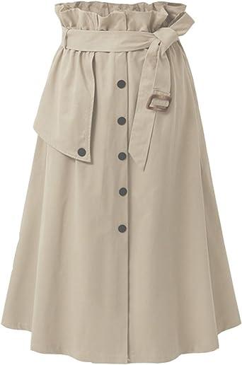 Mujeres Vintage Falda Midi Plisada A-Line Con Cinturón Faldas ...