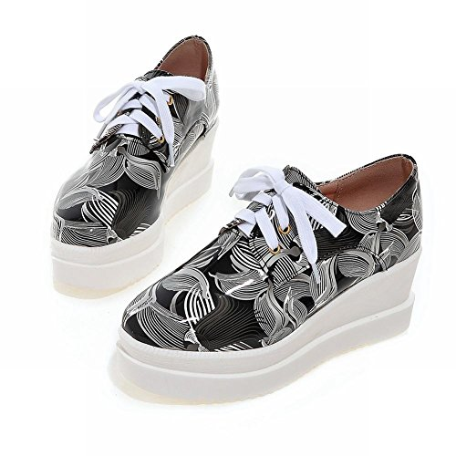 Carolbar Womens Print Lace up Popular Platform Wedge Heel Oxfords Shoes Black ONBIOW