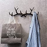 Pinjewelry Convenient and Practical Nordic Antler Decorative Wall Hanging Coat Rack Hook Creative Porch Door Rack Wall Decoration Dressing Room (Color : Brown, Size : A)