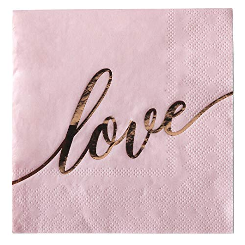 Andaz Press Pink with Rose Gold Scripted Love Saying Cocktail Napkins, Bulk 100-Pack Count 3-Ply Disposable Fun Beverage Napkins for Wedding, Bridal Shower, Bachelorette, Baby Shower, Valentine