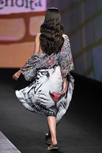 Estivo Delle One 4 Con Mare Grazioso Moda Chiffon Autunnale Blu Cintura Kimono Size Manica Donna Cardigan Copricostume Stampa Animalier 3 Elegante Top Lunghi wtqPvwY