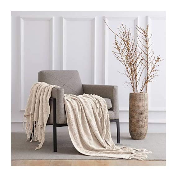 """Longhui bedding Fringe Knit Cotton Throw Blanket, 50 x 63 Inches Decorative Knitted Cover with 6 Inches Tassels, Bonus Laundry Bag - 3.12lb Weight, Couch Blankets, Cream - ELEGANT KNITTED BLANKET: Beautiful knitting is what gives our throw blanket fancy touches of detailed sophistication. The woven pattern brings a decorative element to any sofa, couch, bed, recliner or sitting bench. BIG ENOUGH FOR SNUGGLING: Measuring 50""""x63"""", the knit blanket is large enough to cover two people. Spend the night in watching Netflix beside your significant other blanketed by the warmth of this knitted throw! HEAVY WEIGHT 100% COTTON: Weighing in at 3.12 pounds, our signature knitted throw blanket is weighted to deliver unparalleled comfort. It's soft & cozy but also heavy enough to keep the chill out on cold winter days. - blankets-throws, bedroom-sheets-comforters, bedroom - 517kVzDKeUL. SS570  -"""