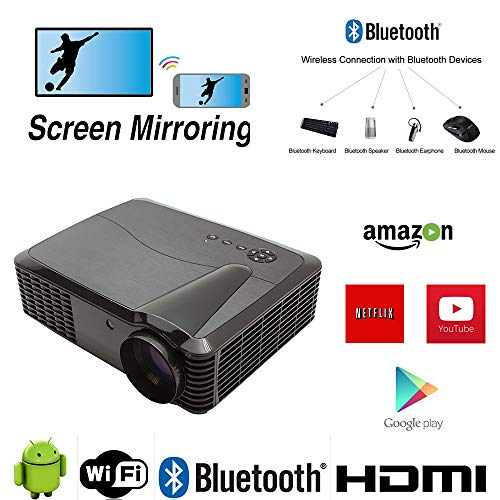 WiFi Projector Android Bluetooth, 1920x1080 Native Resolution 4K Max 4500 Lumens 7000:1 Contrast, 200