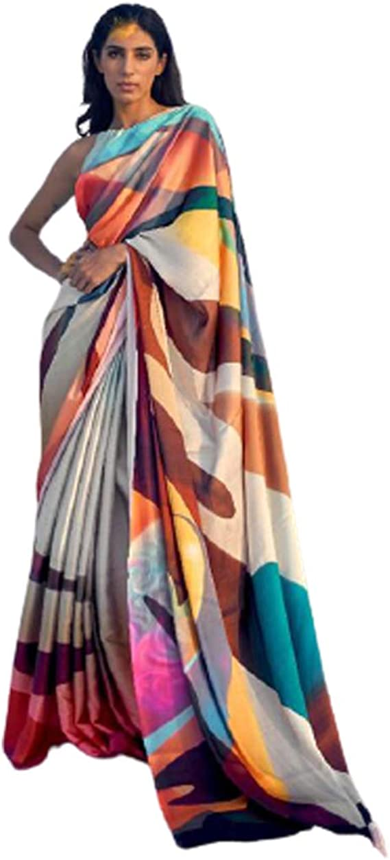 Beautiful Satin Digital Printed Saree With Unstitched Running Blouse Pcs For Women Wear Wedding Gift Party Gift Sari