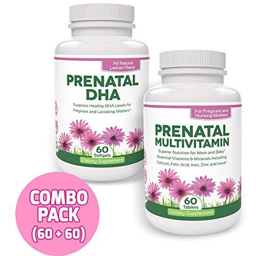 Vitaminas prenatales con suplemento de DHA por verde hoja Wellness-uno al día - valor tamaño (60 comprimidos + 60 cápsulas)