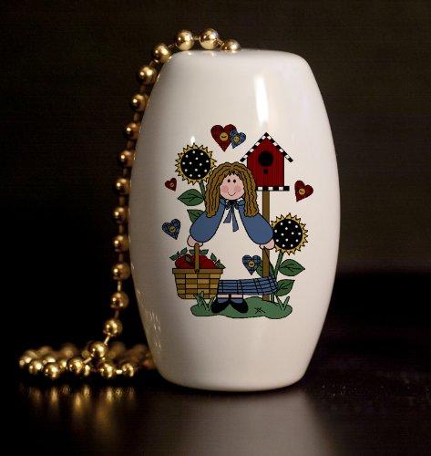 Garden Folk Art - Folk Art Garden Girl Porcelain Fan / Light Pull