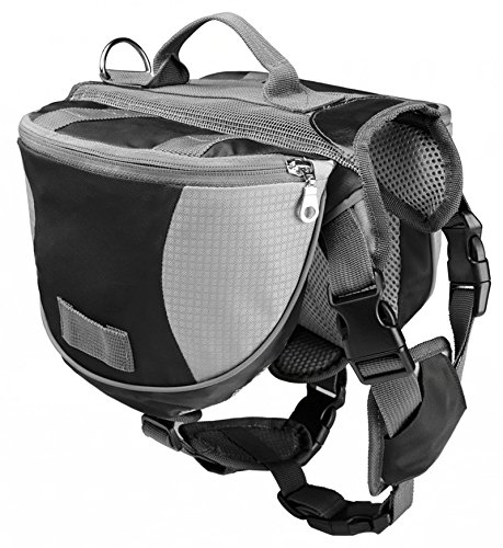 Black L Black L Kommii Pet Dog Backpack Carrier Adjustable Saddlebags Harness Portable For Travel Outdoor Activity (L, Black)