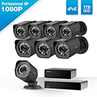 Zmodo 1080p Full HD 8 Outdoor Video Surveillance Security Camera System 8 Channel HDMI NVR, sPoE Repeater and 1TB Hard Drive