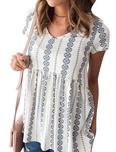 (Nlife Women's Summer Floral Print Top V Neck Blouse Short Sleeve Tops Peplum Blouse)