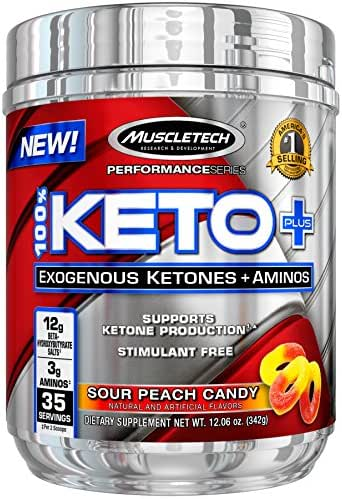 MuscleTech 100% Keto Plus Ketones Supplement, Exogenous Ketones & Aminos, Sour Peach Candy, 35 Servings (342g)