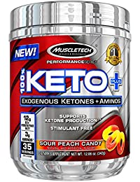 100% Keto Plus, Exogenous Ketones & Aminos, Sour Peach Candy, 35 Servings