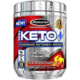 MuscleTech 100% Keto Plus Ketones Supplement, Exogenous Ketones & Aminos, Sour Peach Candy, 35 Servings (342g) For Sale