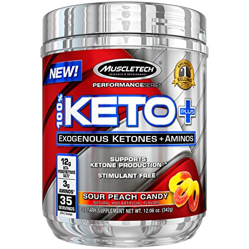 MuscleTech 100% Keto Plus, Exogenous Ketones & Aminos, Sour Peach Candy, 35 Servings by MuscleTech
