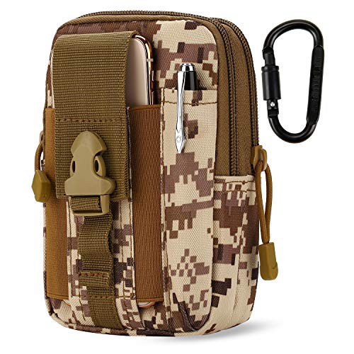 DOUN Outdoor Tactical Waist Bag EDC Molle Belt Waist Pouch Security Purse Phone Carrying Case for iPhone 8 plus Galaxy Note 9 S9 Or Less than 6.2 inches Smartphone - Desert digital
