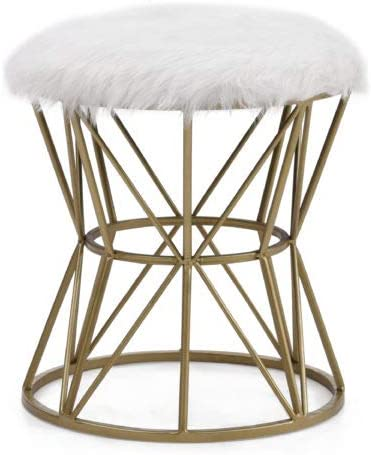 Deal of the week: Hodedah White Faux Fur Cylindrical Ottoman