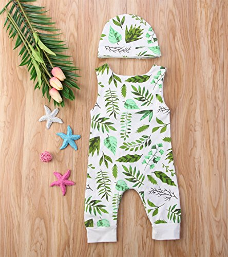 Stylesilove Unisex Baby Leaves Pattern Sleeveless Cotton Romper with Hat 2 pcs Set