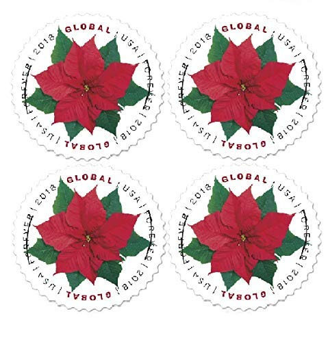 2018 Global Poinsettia Forever Stamps Always Good for 1 Oz International First Class Mail - Block of 4 - Stamp International