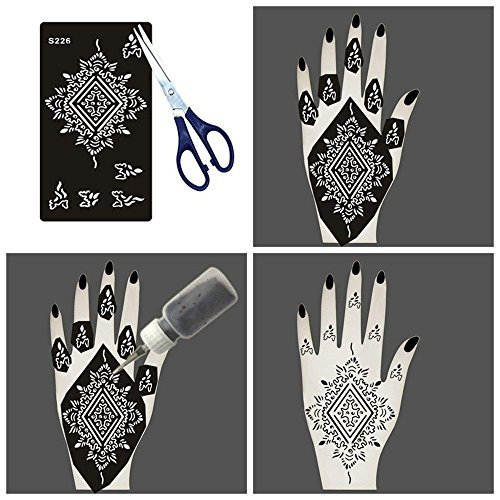 8d03ea650 8 Pieces India Henna Tattoo Stencil Set for Women Girls Hand Finger Body Paint  Temporary Tattoo