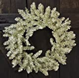 Platinum Collection Winter Floral Wreath Silver Sparkle Tinsel Country Primitive Christmas Holiday Décor