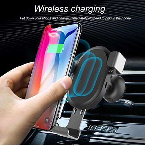 Wireless Car Charger Mount, Awakingdemi Auto-clamping Qi Fast Charging Air Vent Cell Phone Holder Cradle for Samsung Galaxy S9/S9 Plus S8 S7/S7 Edge Note 8 5 iPhone X 8/8 Plus & Qi Enabled Devices