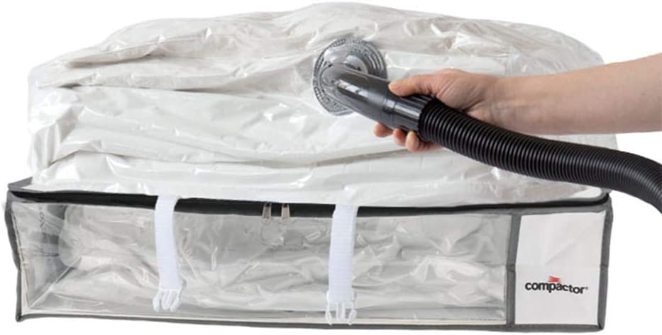 "Compactor Space Saver Vacuum Storage Solution Vacuum Bag to Protect Clothes, Pillows, Duvets, Comforters, Blankets (L (26""x20""x6""), Vision White)"