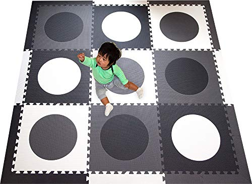 SoftTiles Children's Foam Playmat- Minimalist Geometric Circles- Designer Floor Tiles for Children's Playrooms and Baby Nursery- Large 6.5 x 6.5 ft.- Black, Gray, and White ()